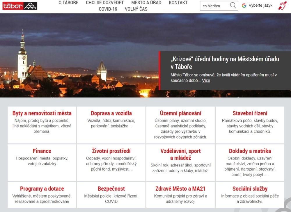 Popis: Internetové stránky města Tábor.