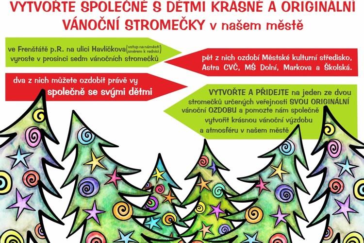 Vstup na frenštátské náměstí oživí vánoční stromečky. Ozdobí je i veřejnost.