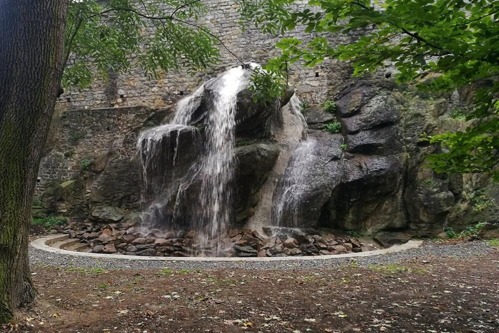 Obnovený vodopád v Bezručových sadech v Olomouci.