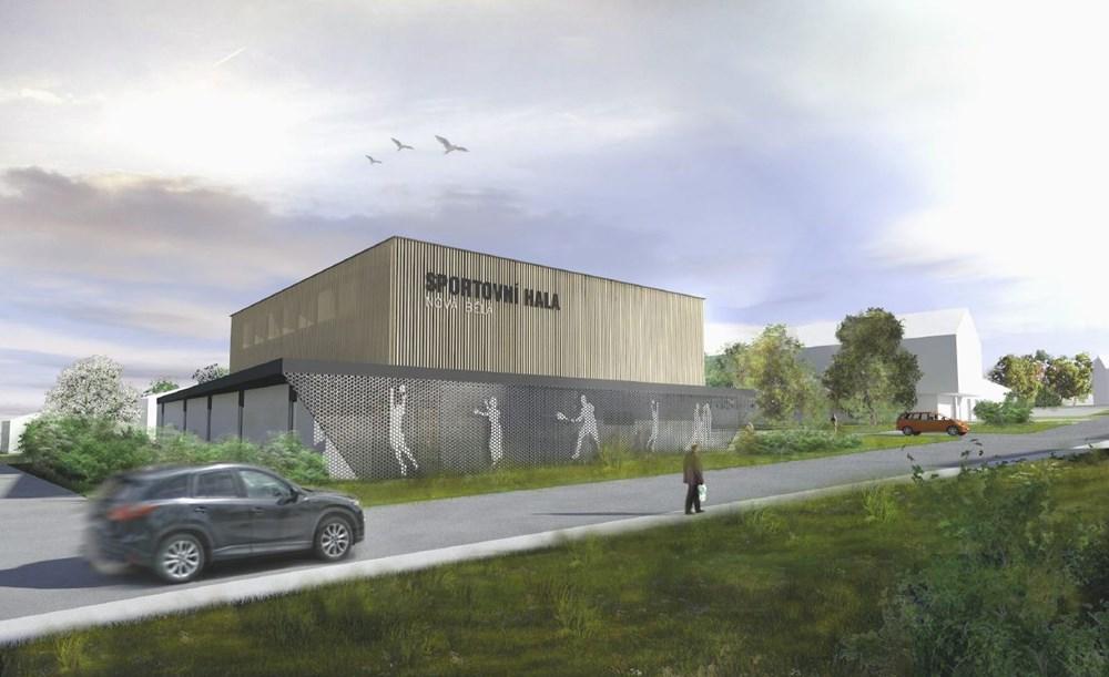 Popis: Vizualizace nové sportovní haly, která vznikne v Nové Bělé.