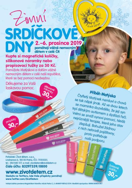 Nákupem propisky, kolíčku nebo náramku můžete pomoct rodinám s vážně nemocnými dětmi