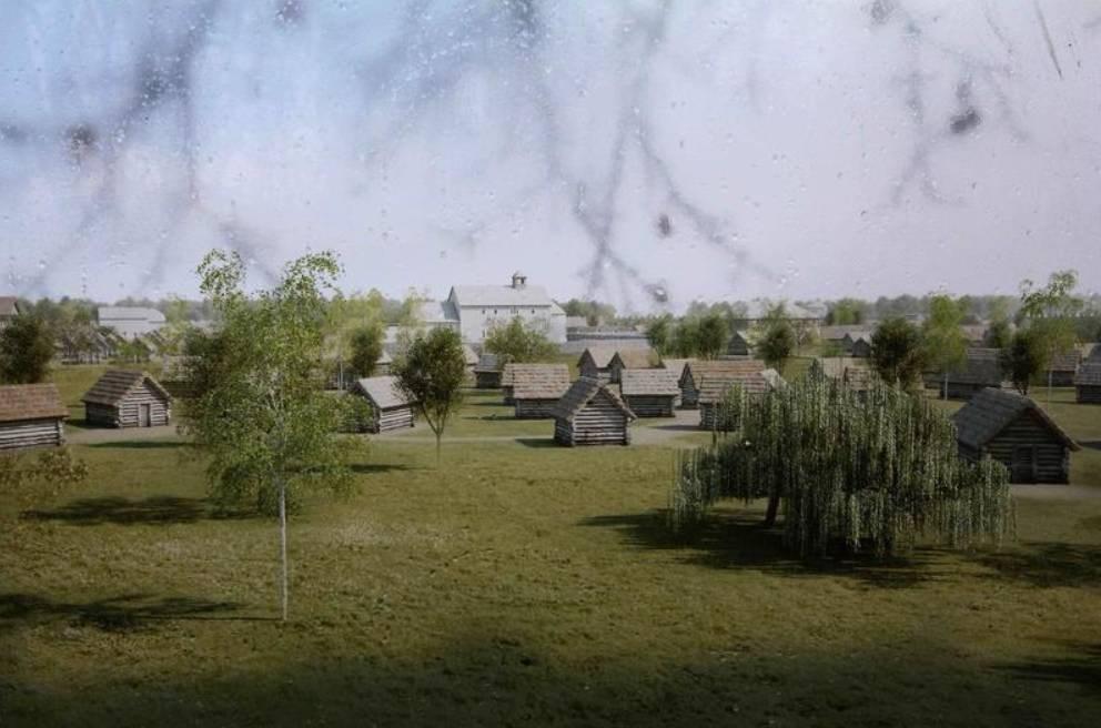 Popis: Exteriéry velkomoravského hradiště.