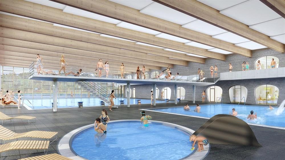 Popis: Vizualizace ukazuje, jak má vypadat nový krytý bazén vevnitř.