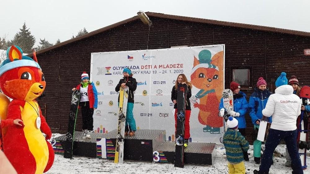 Popis: Stříbro na snowboardu vybojovala Jana Zvířecí.